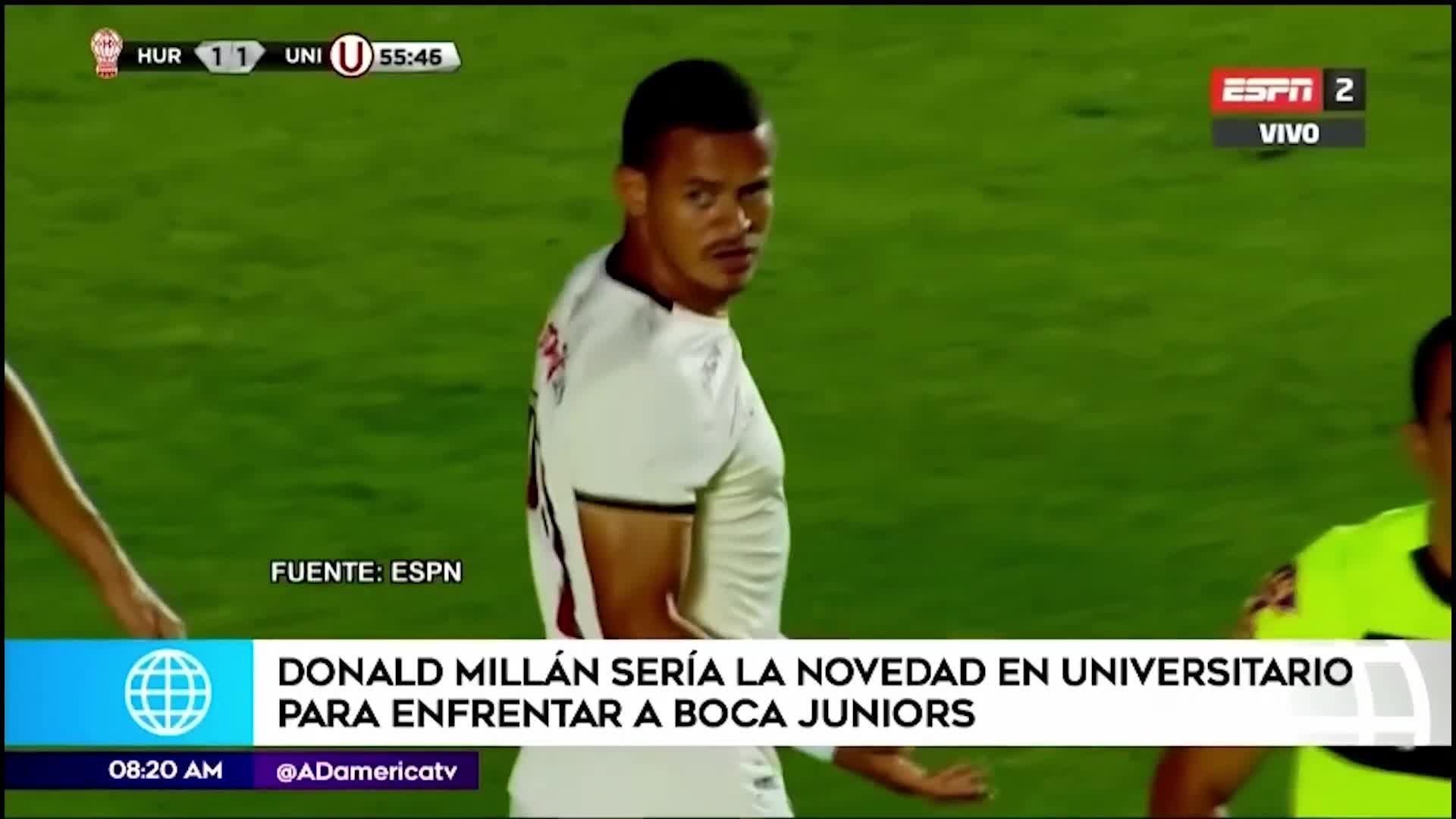 Donald Millán sería el 'as' bajo la manga para enfrentar a Boca Juniors