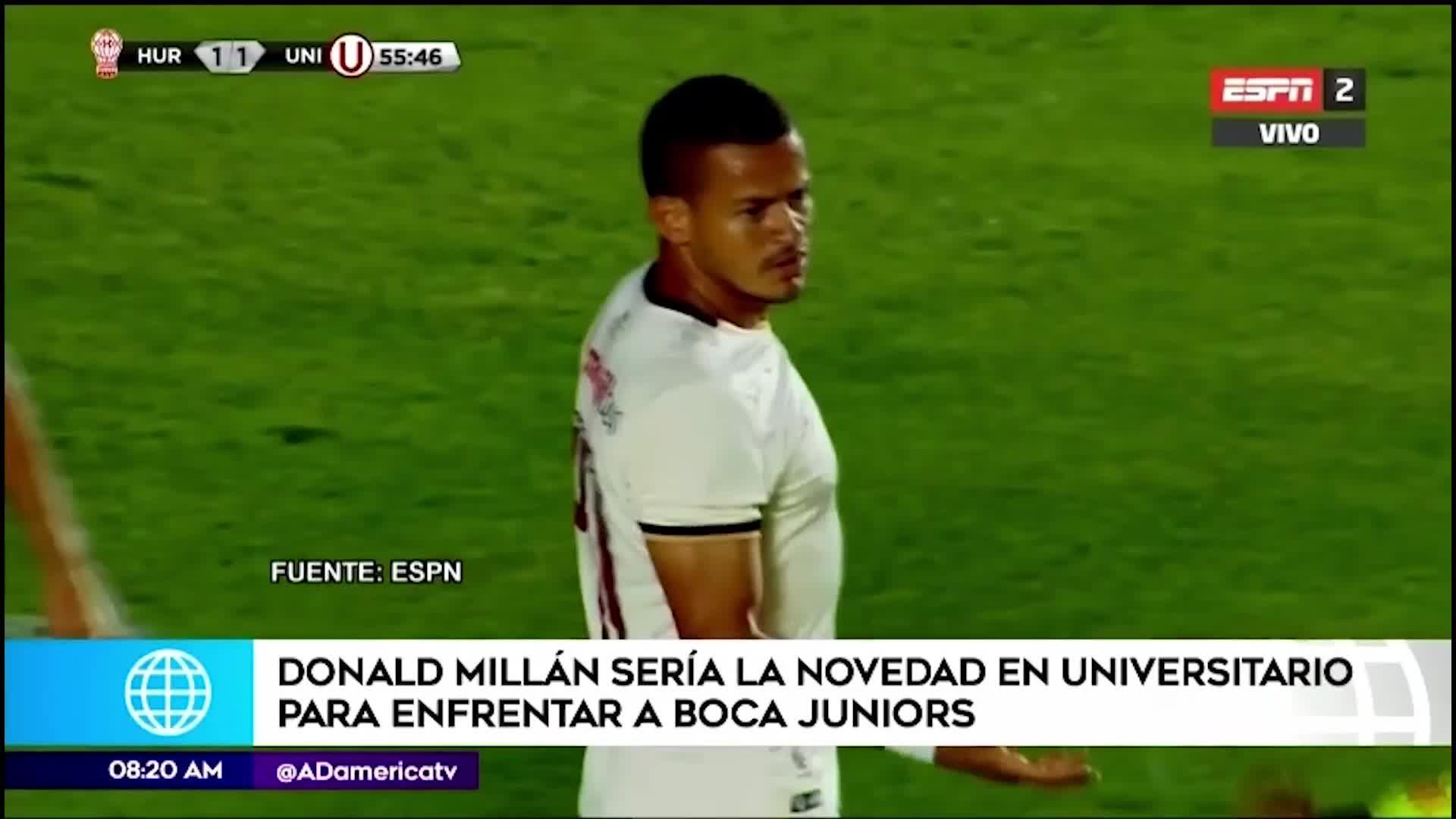 Donald Millán sería titular ante Boca Juniors