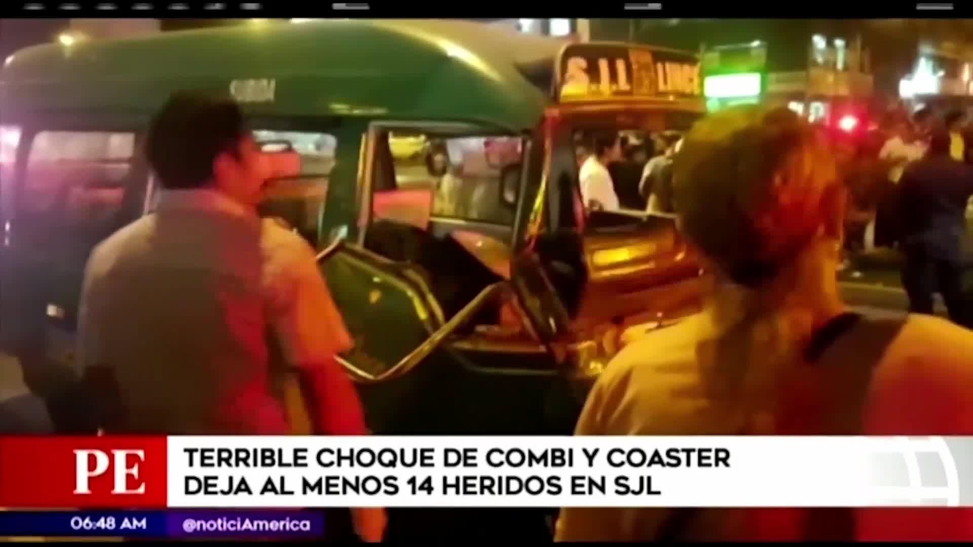 SJL: 14 heridos deja aparatoso choque entre combi y coaster