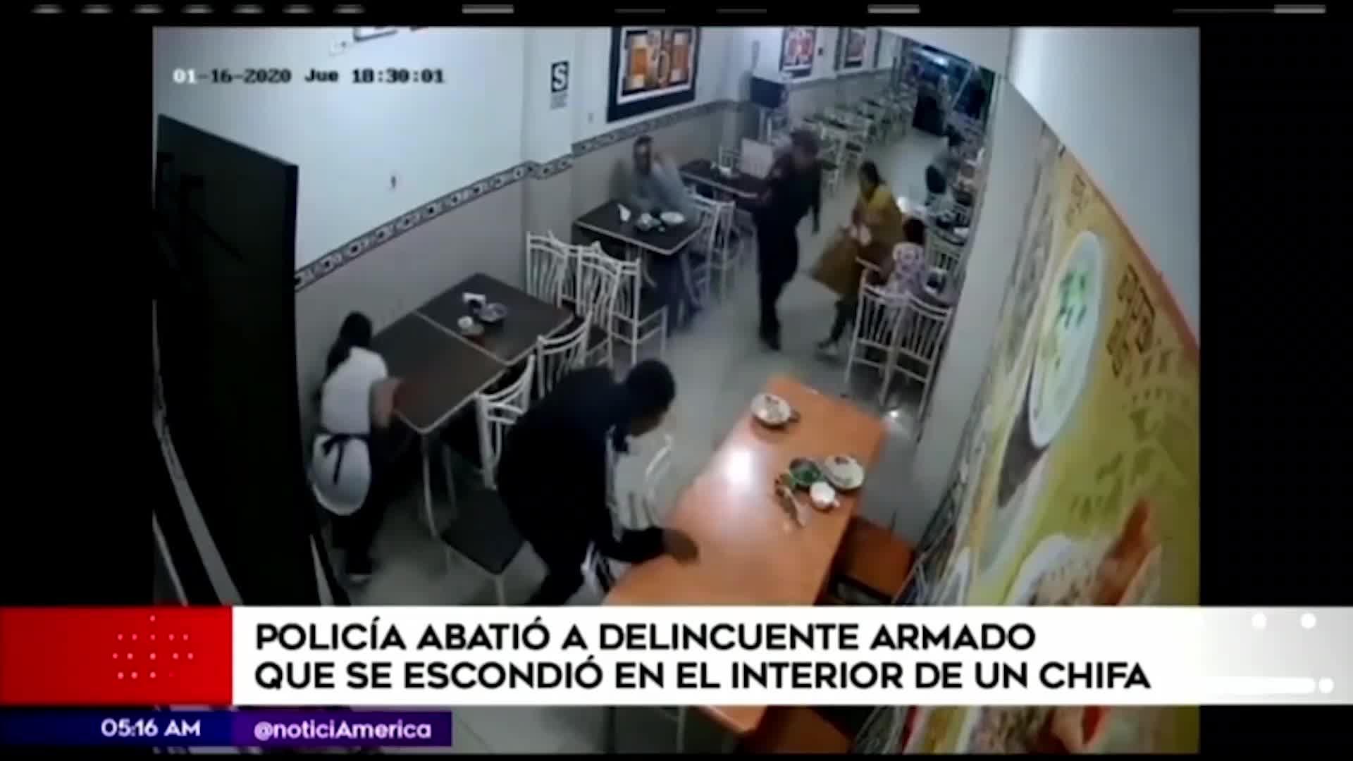 Villa El Salvador: policía abate a un delincuente de un balazo al interior de un chifa