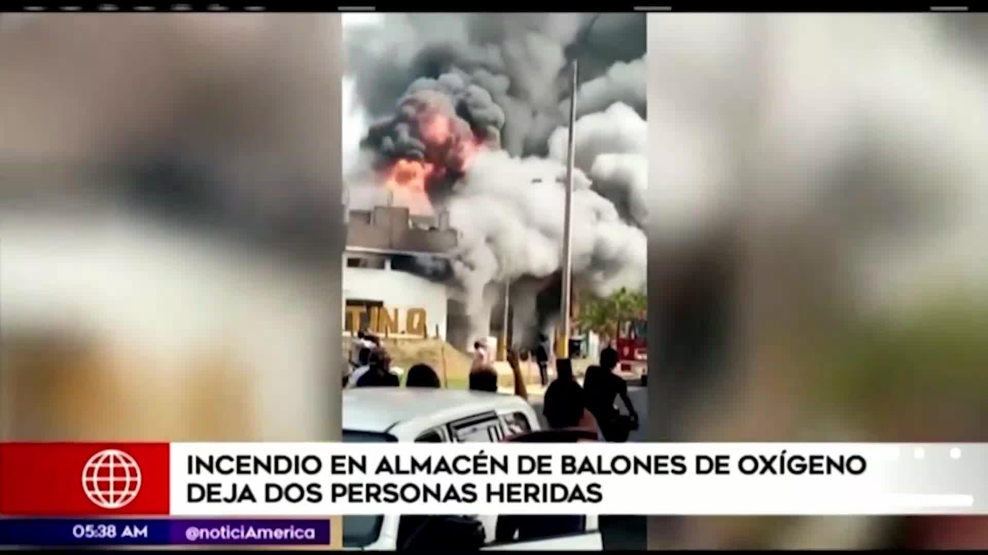 El Agustino: dos heridos por incendio en almacén de balones de oxígeno