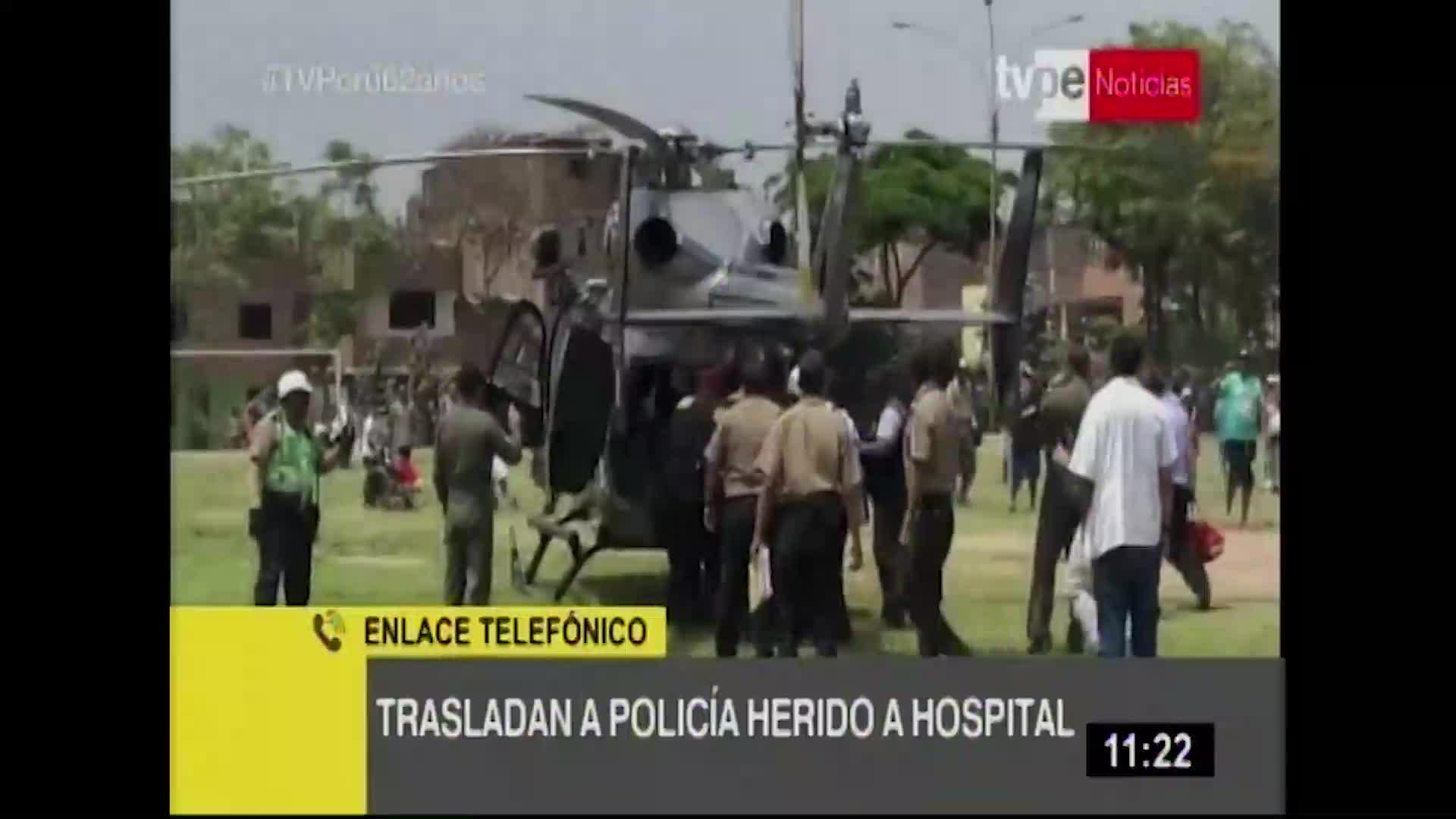 Comas: trasladan en helicóptero a policía baleado por delincuentes