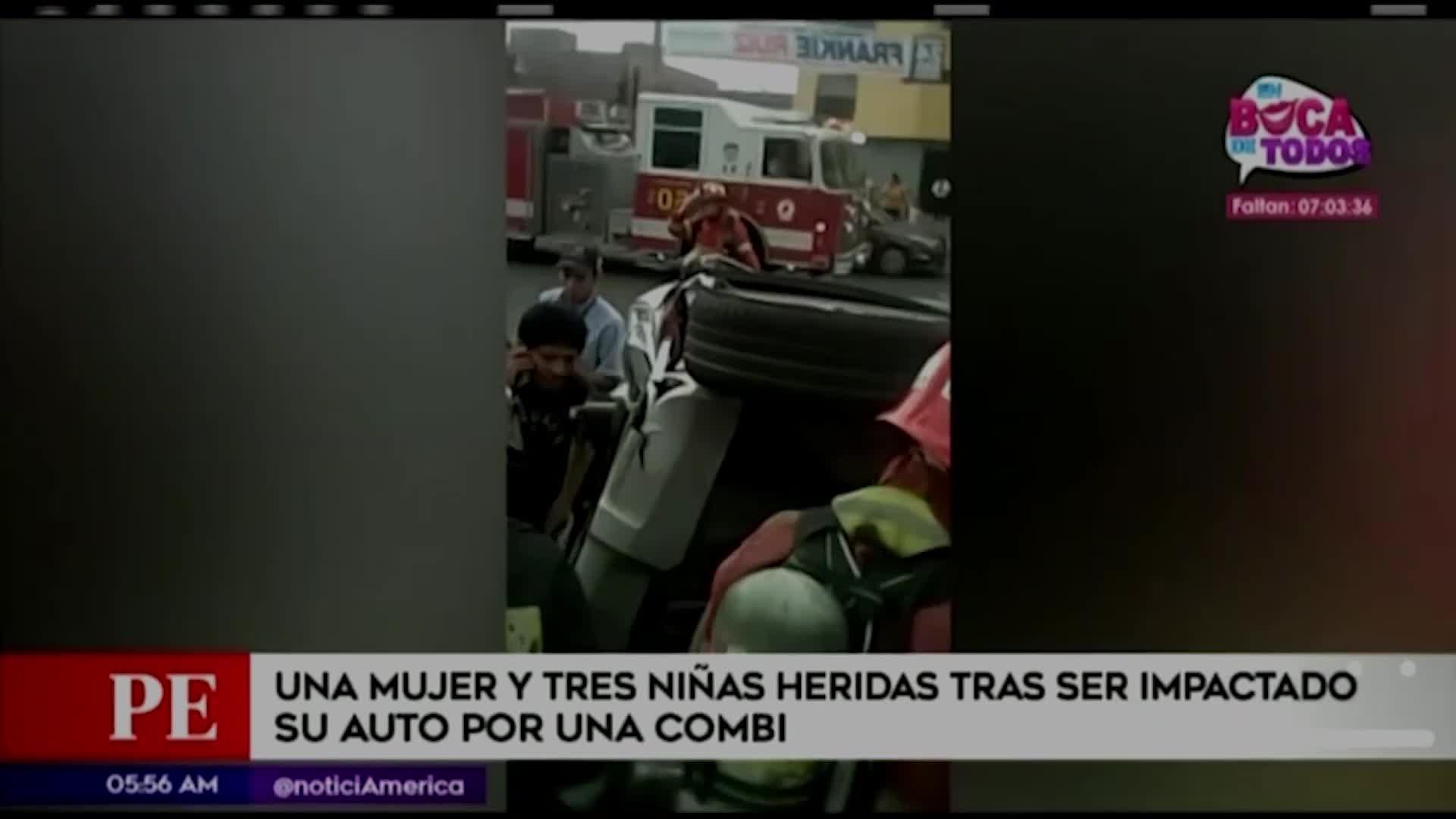 Cercado de Lima: cuatro heridos tras impacto entre auto y combi