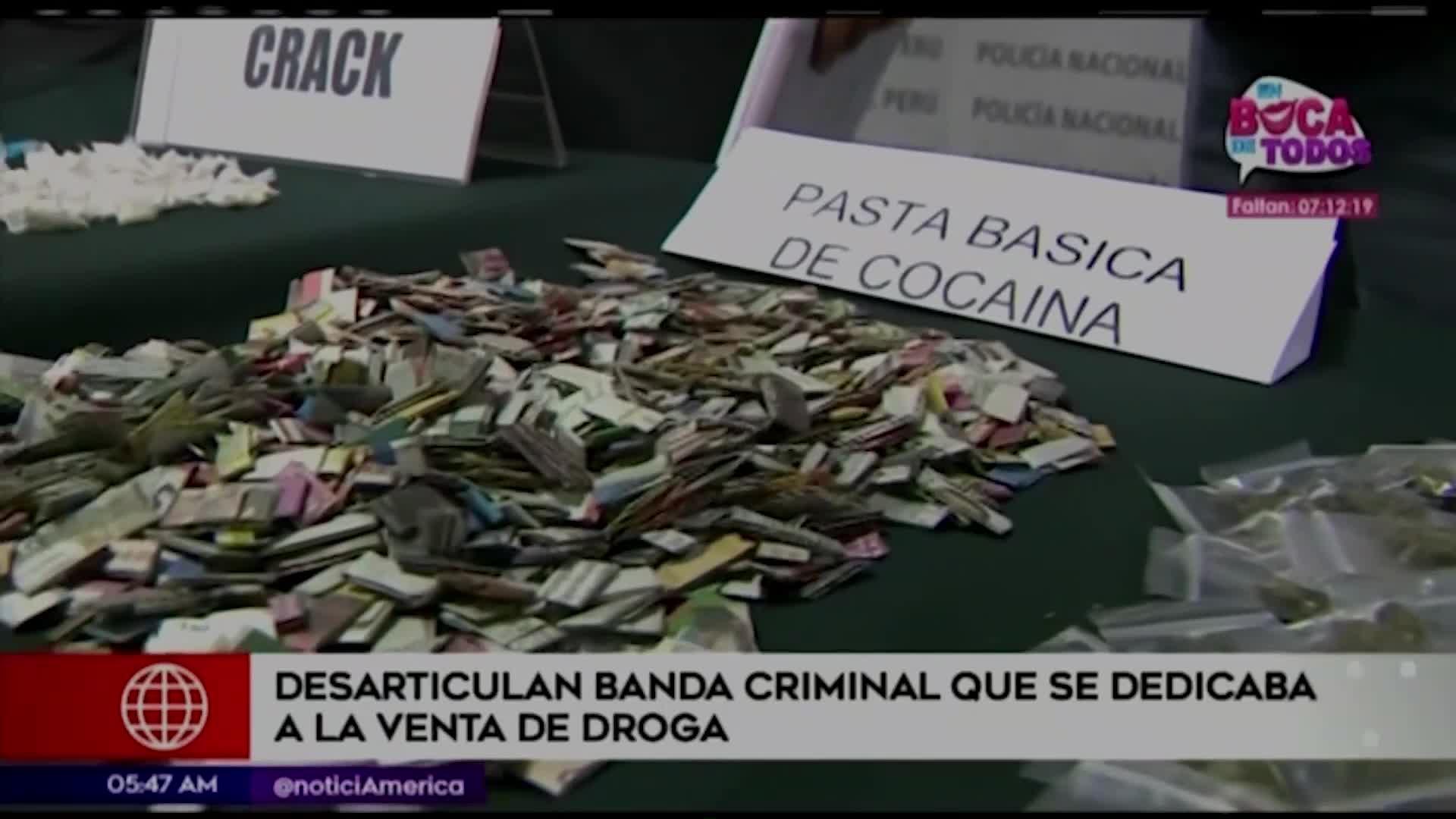 Capturan a banda dedicada a la venta de drogas en La Victoria