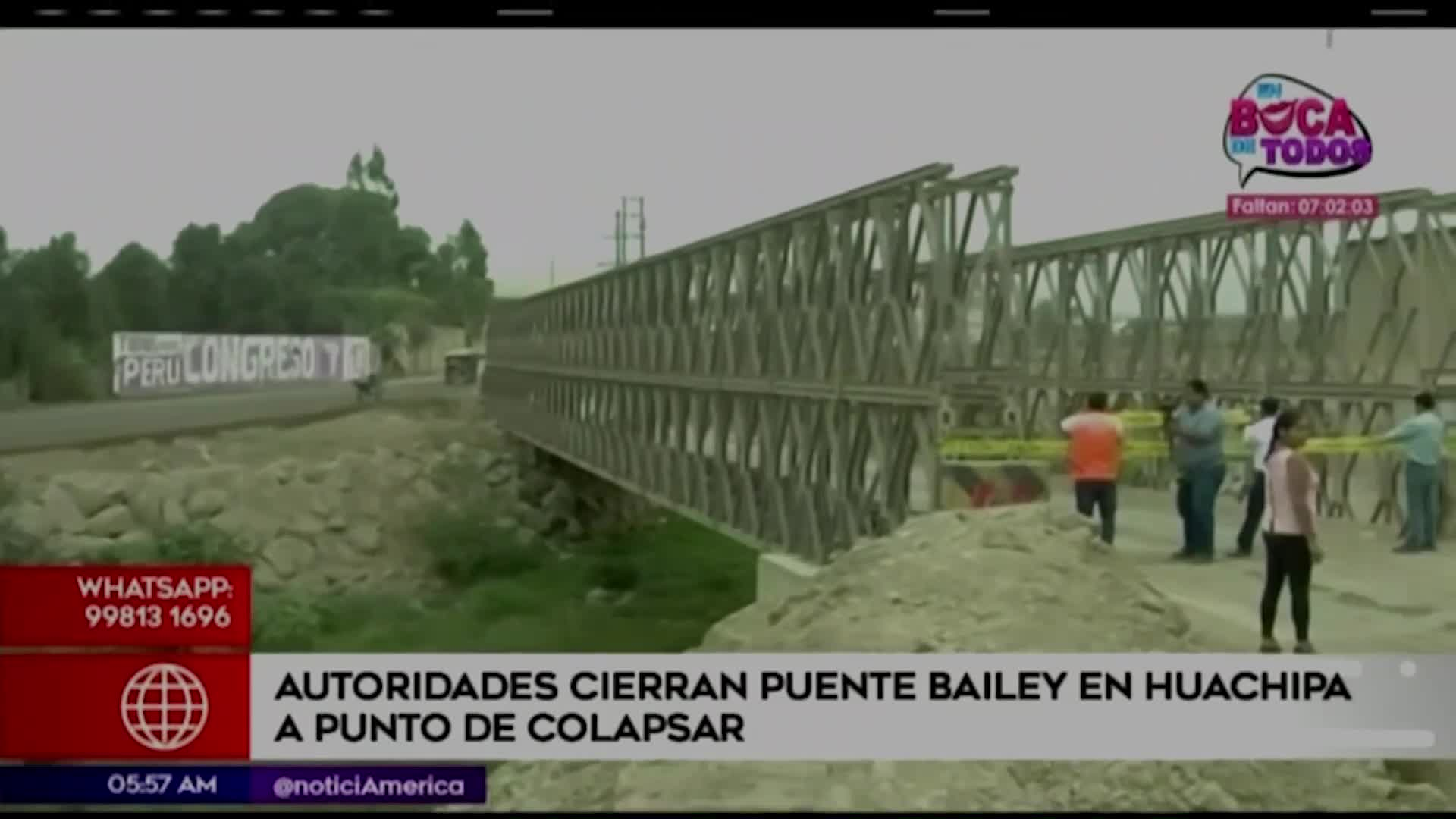 Lurigancho-Chosica: puente tipo Bailey de río Huaycoloro podría colapsar en cualquier momento