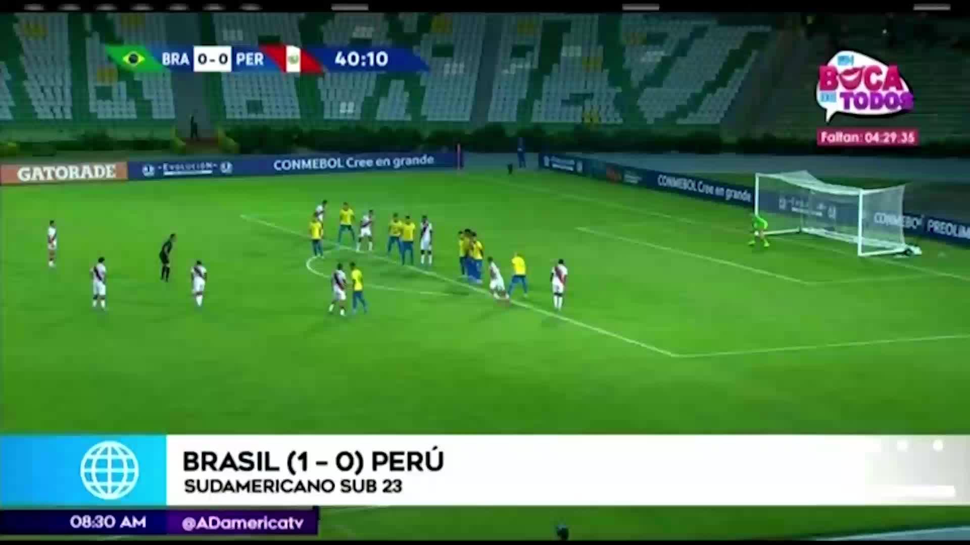 Perú cayó 1-0 ante Brasil en su debut en el Torneo Preolímpico Sub 23