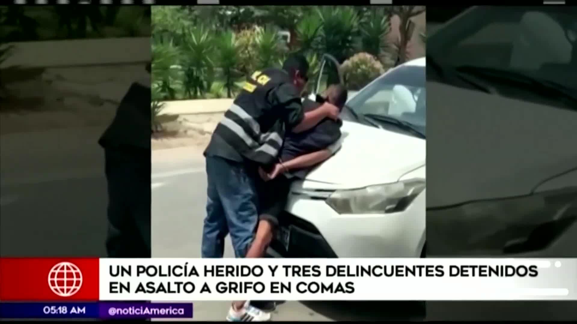 Comas: delincuentes desatan balacera y dejan un policía herido en asalto a grifo