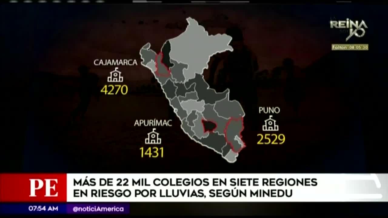 Más de 22 mil colegios del país en riesgo tras alto periodo de lluvias
