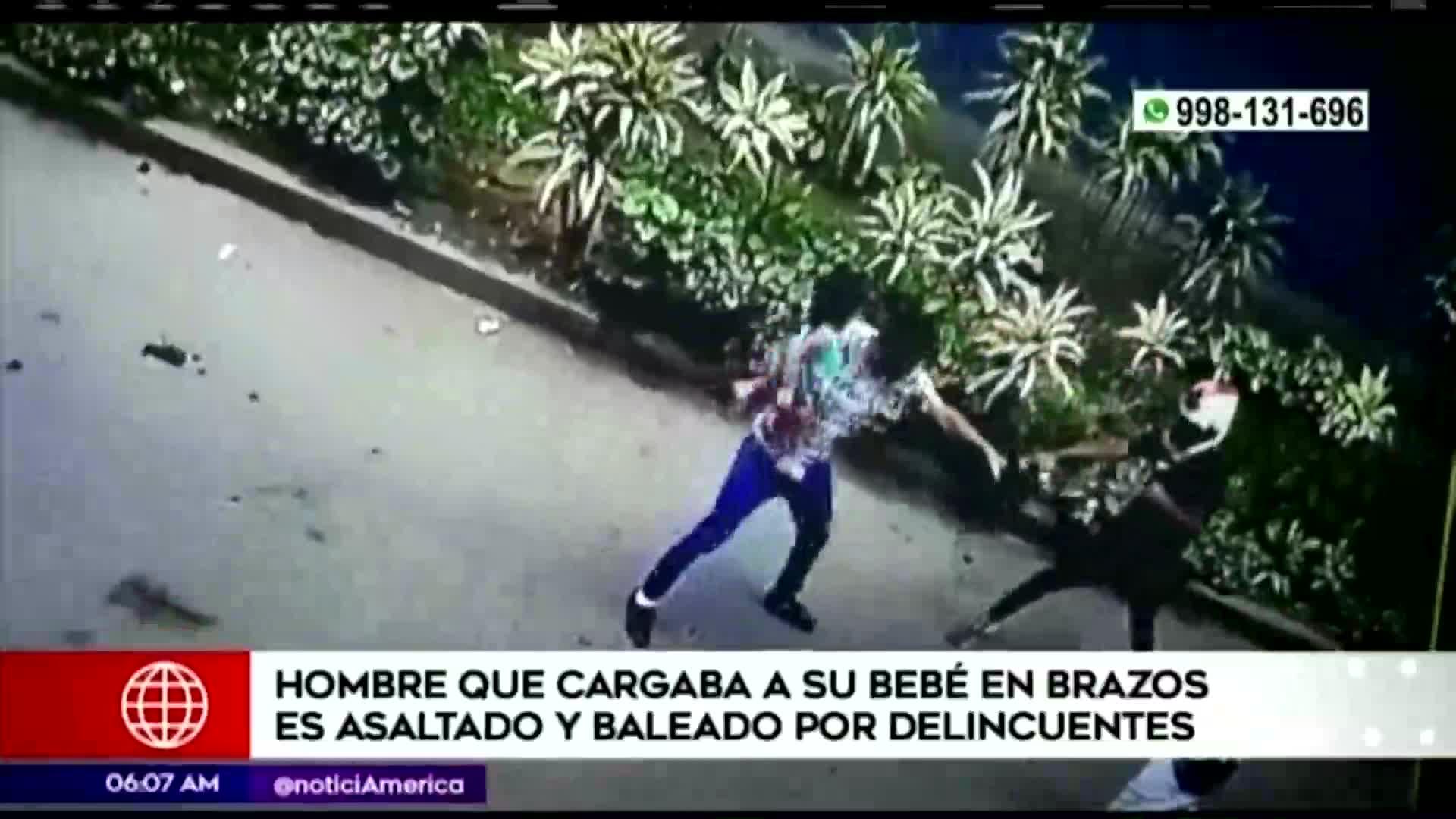 SMP: delincuentes asaltaron a hombre con bebé en brazos