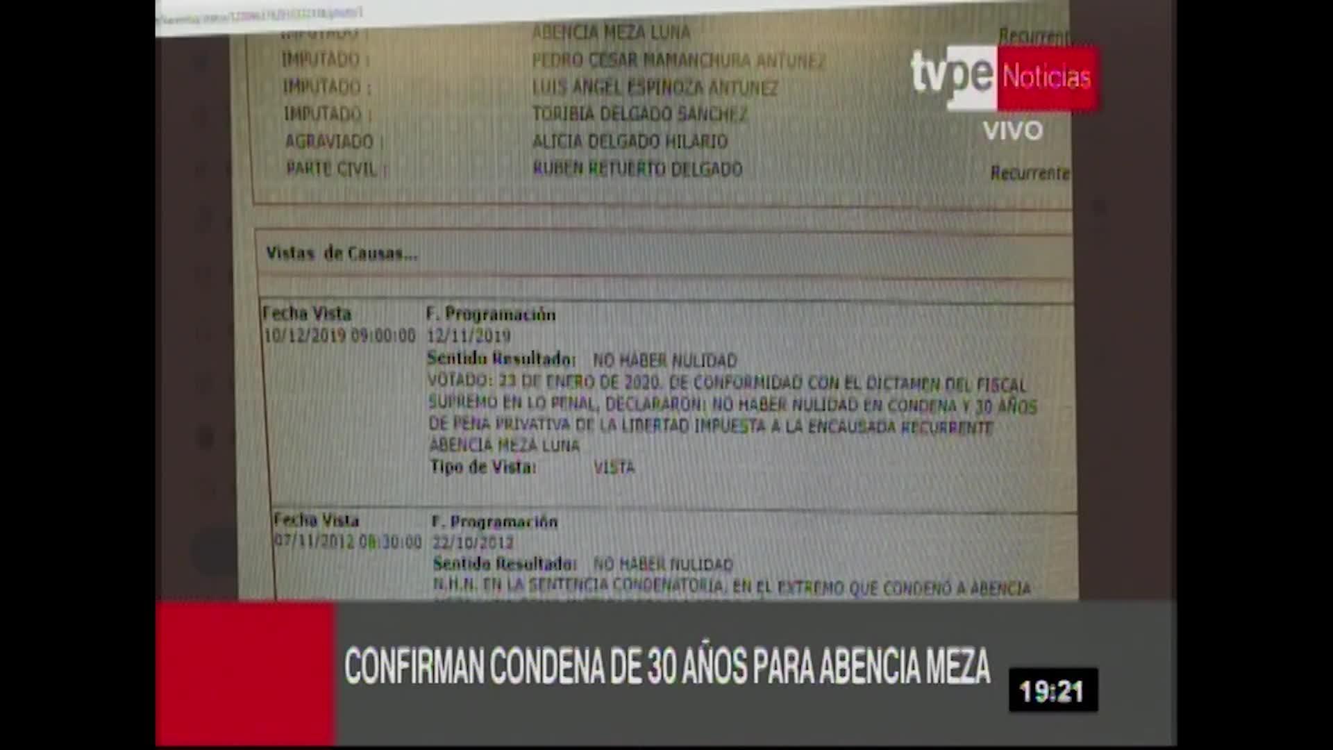 Confirman sentencia de 30 años contra Abencia Meza por crimen de Alicia Delgado