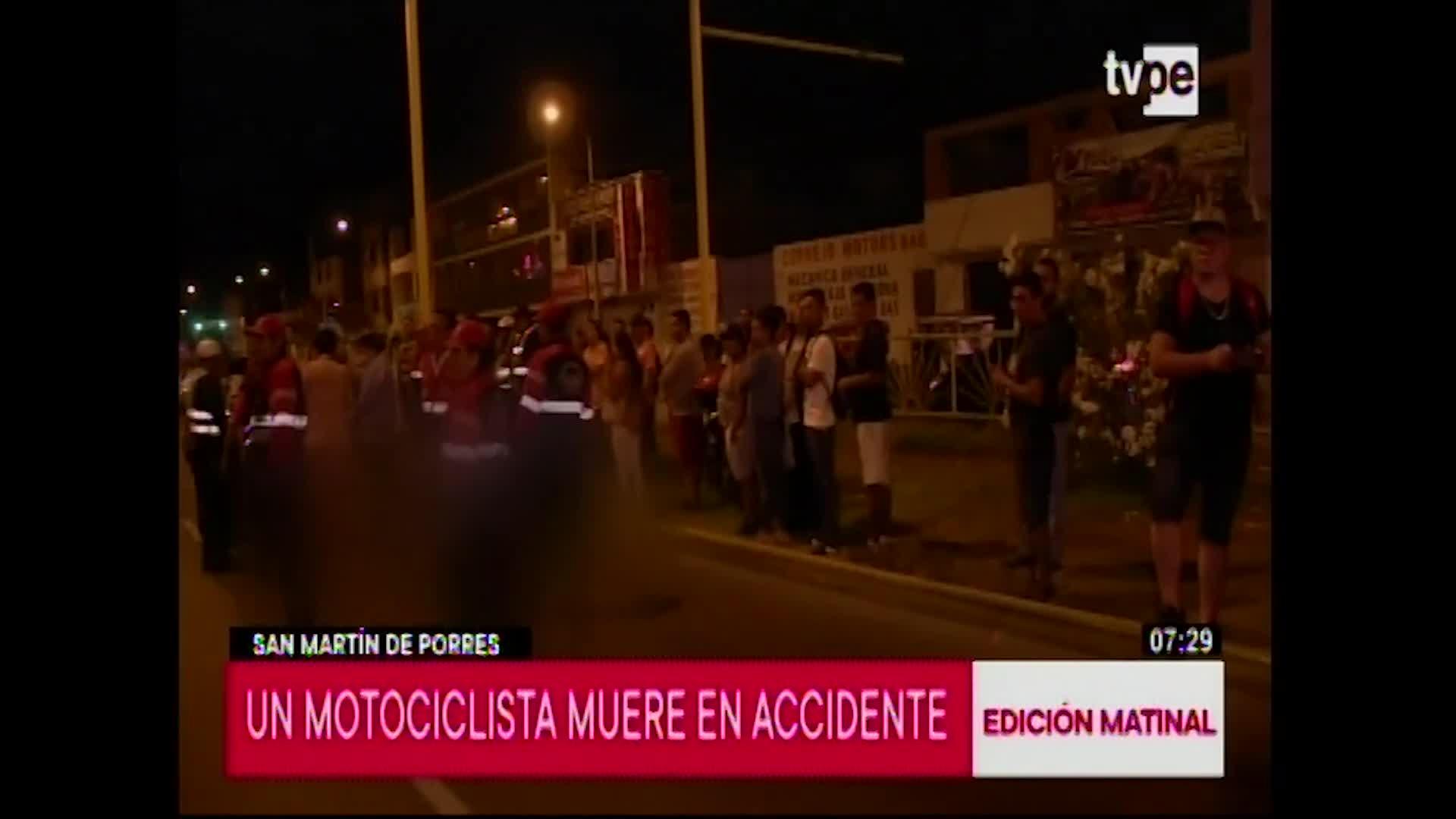 SMP: motociclista muere tras ser impactado por cúster