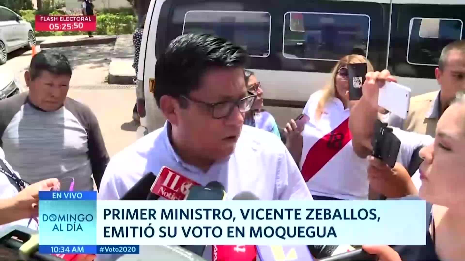 Elecciones 2020: premier Vicente Zeballos emitió su voto en Moquegua