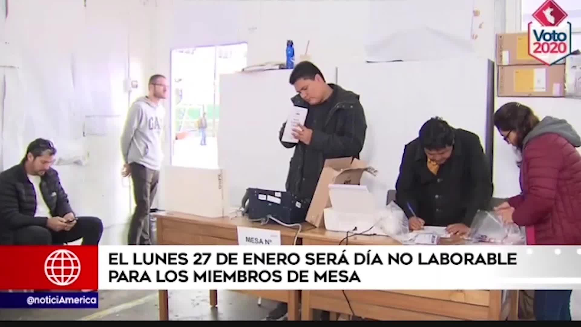 Elecciones 2020: miembros de mesa no trabajarán el 27 de enero