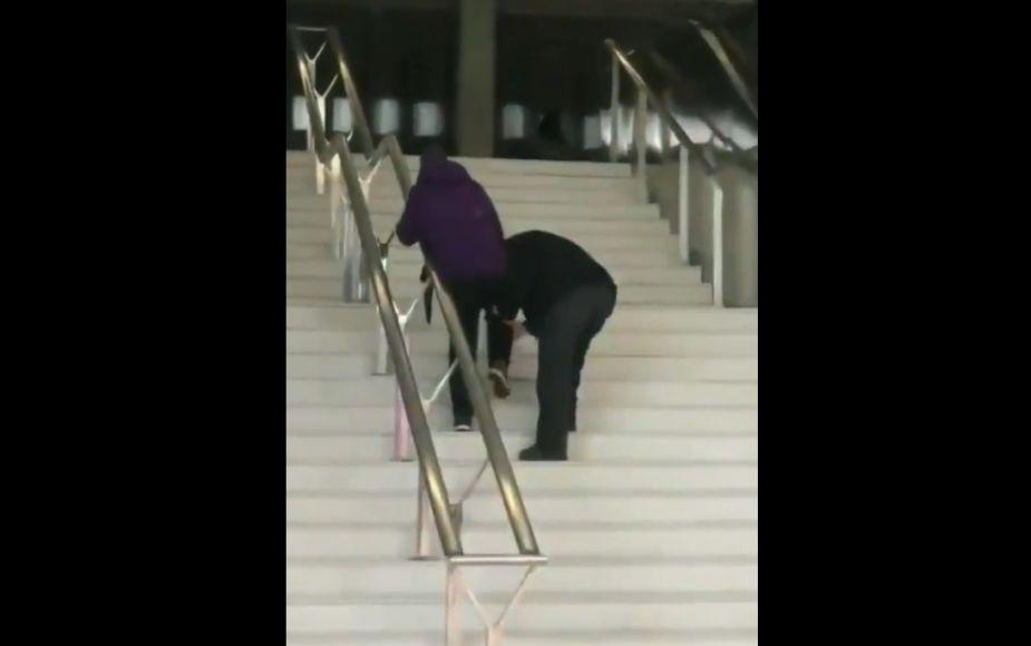 'Prometo cuidarte por siempre': abuelo ayudando a subir escalera a su pareja se hizo viral