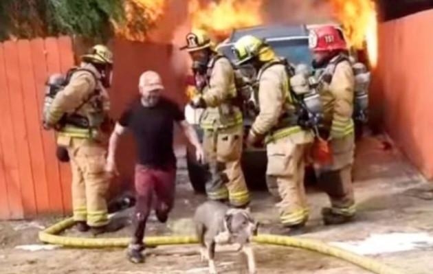 Burló a bomberos y puso en riesgo su vida enfrentando las llamas para rescatar a su perrita