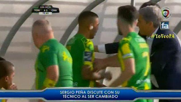 Sergio Peña desairó a su técnico en el Tondela tras ser sustituido | VIDEO