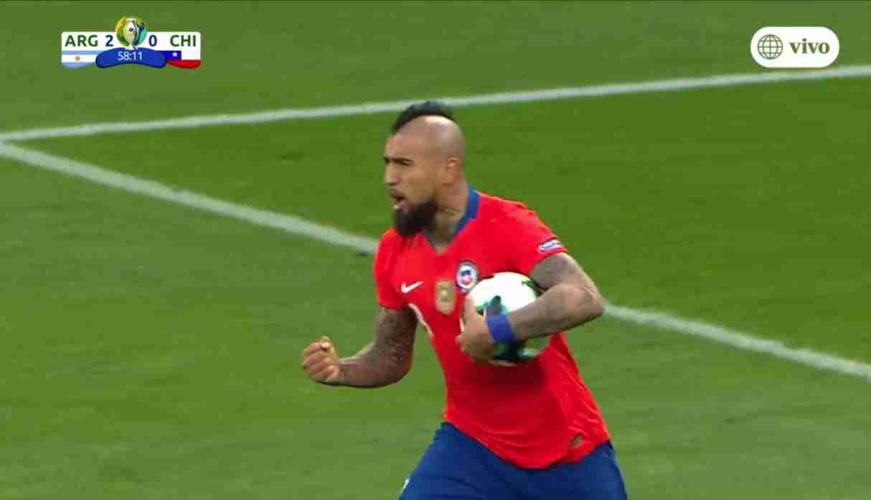 Argentina vs. Chile: Arturo Vidal anotó gol tras penal, concedido por intervención del VAR   VIDEO