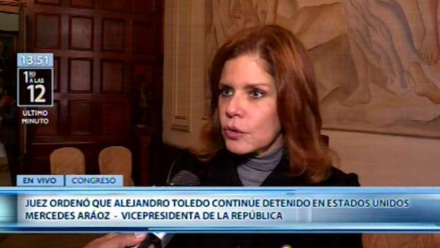 """Mercedes Araoz sobre detención de Toledo en EE.UU: """"Es una muy buena señal"""""""