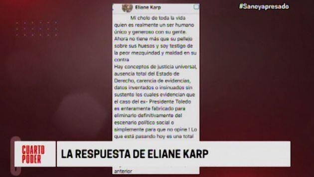 Eliane Karp: Hay carencia de evidencias y datos inventados contra Toledo