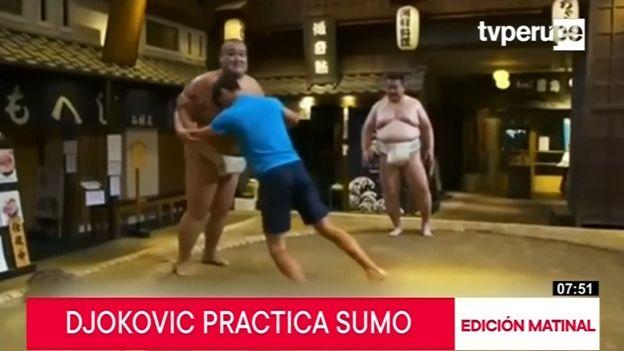 Novak Djokovic aprende sumo con grandes rivales