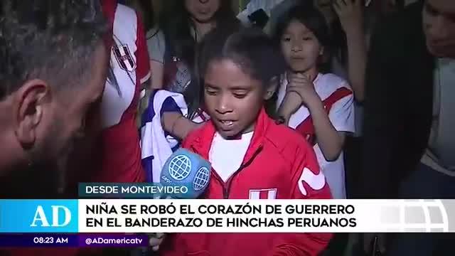 Niña se roba el show en banderazo peruano en Montevideo