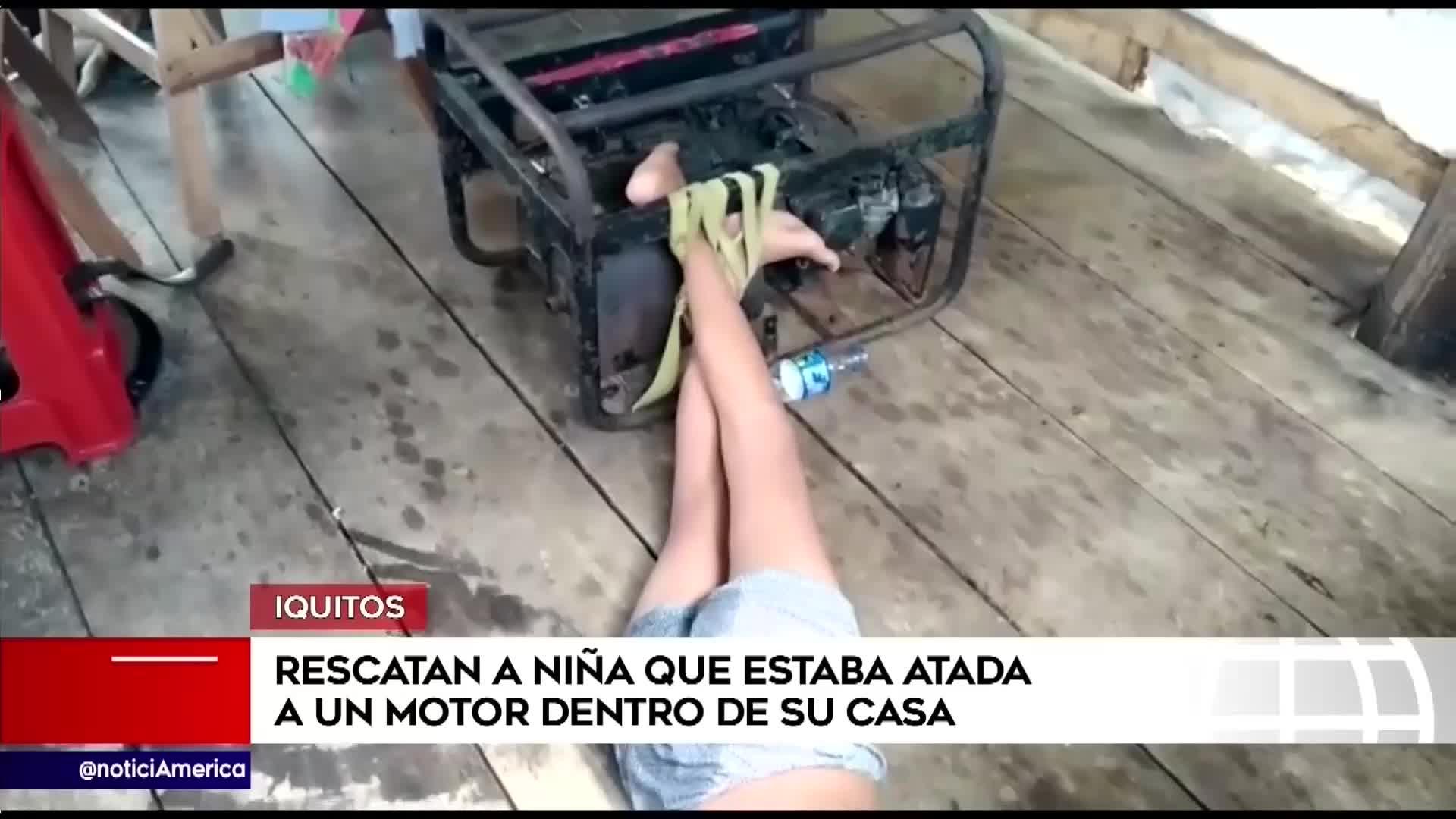 Policía rescata a menor de 11 años que vivía atada a un motor en su casa