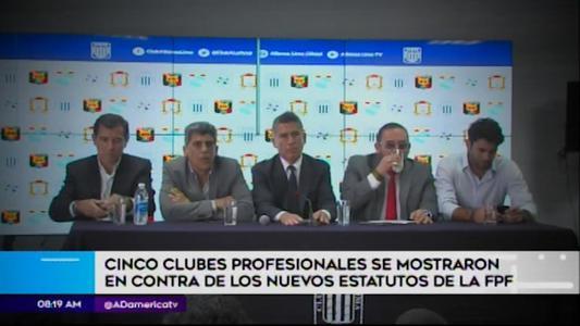 Cinco clubes profesionales en contra de estatutos de la FPF
