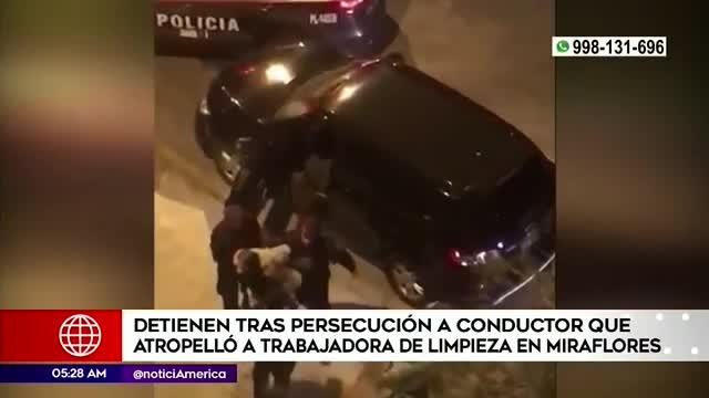 Miraflores: detienen tras persecución a sujeto que atropelló a trabajadora de limpieza