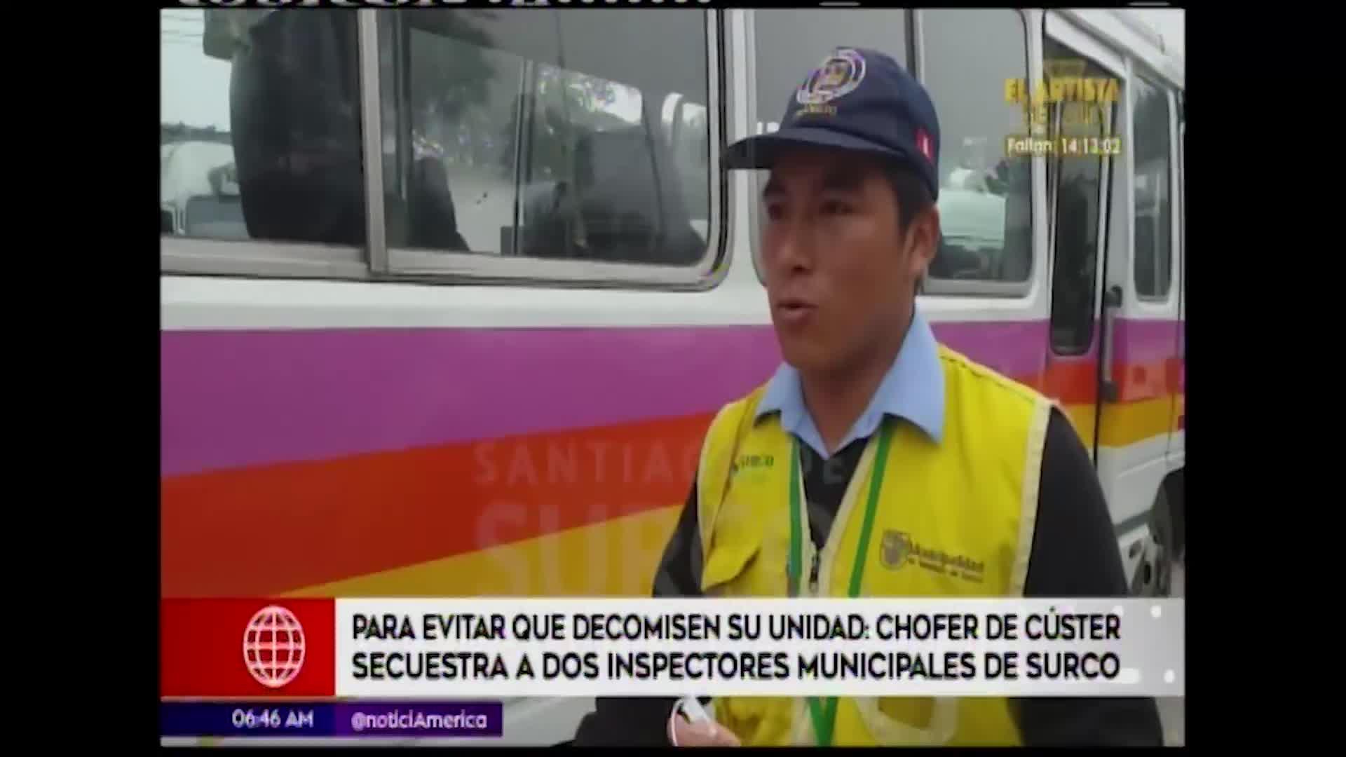Surco: Conductor de cúster secuestra a dos inspectores municipales