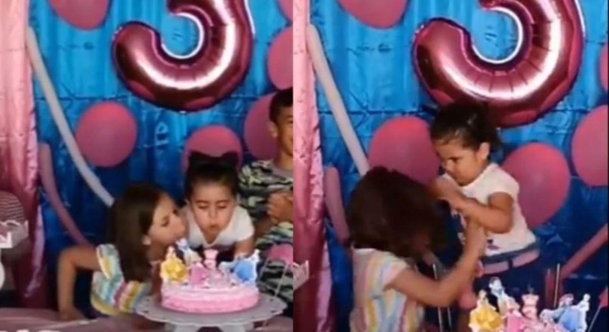 Viral: niña jala del cabello a hermana por soplar las velas de su pastel de cumpleaños