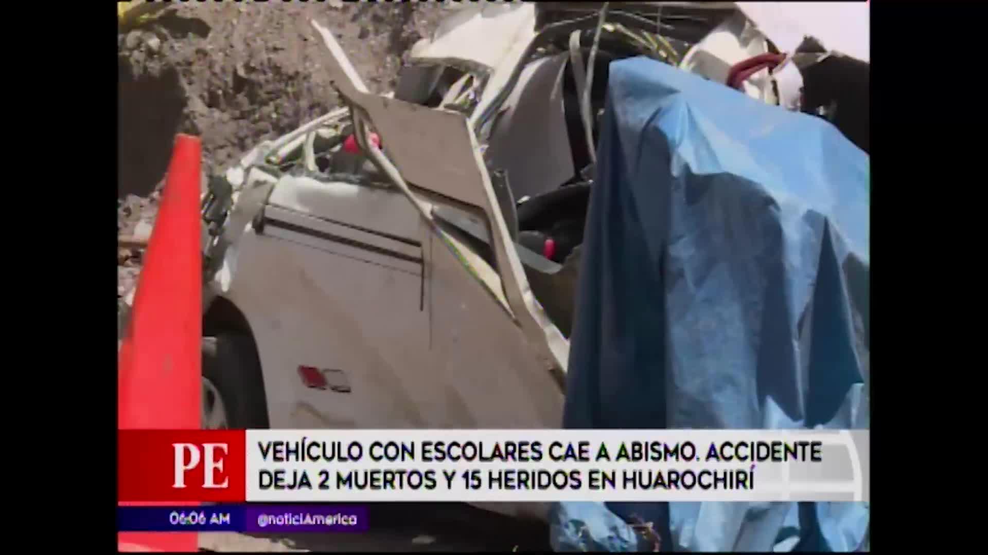 Huarochirí: quince heridos y dos muertos deja despiste de miniván con escolares a bordo