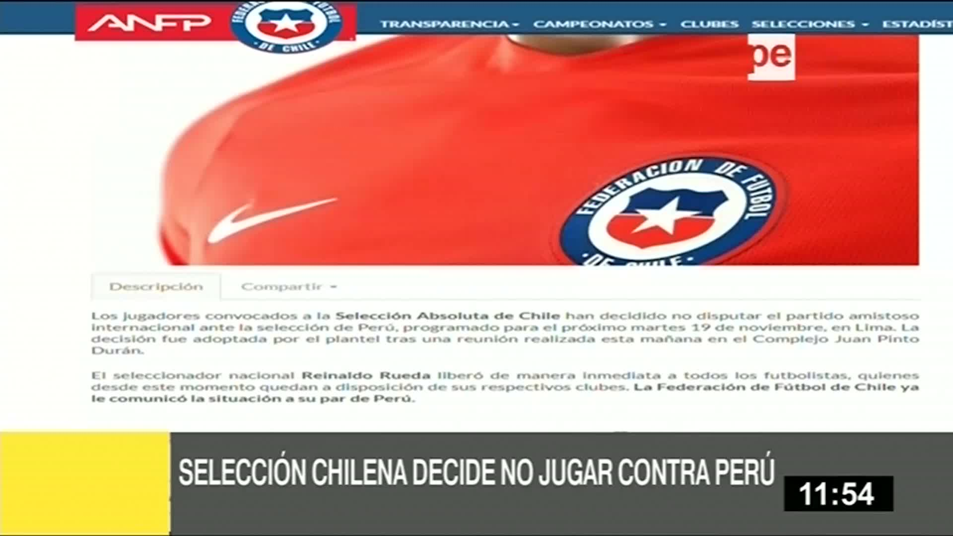 Seleccionados chilenos decidieron no jugar ante Perú