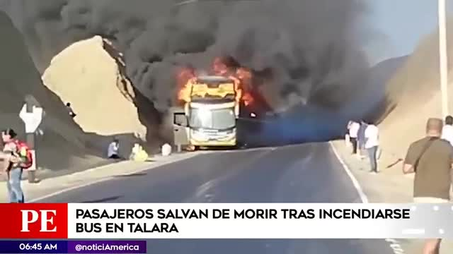 Piura: Más de 30 pasajeros se salvan de morir tras incendiarse bus interprovincial
