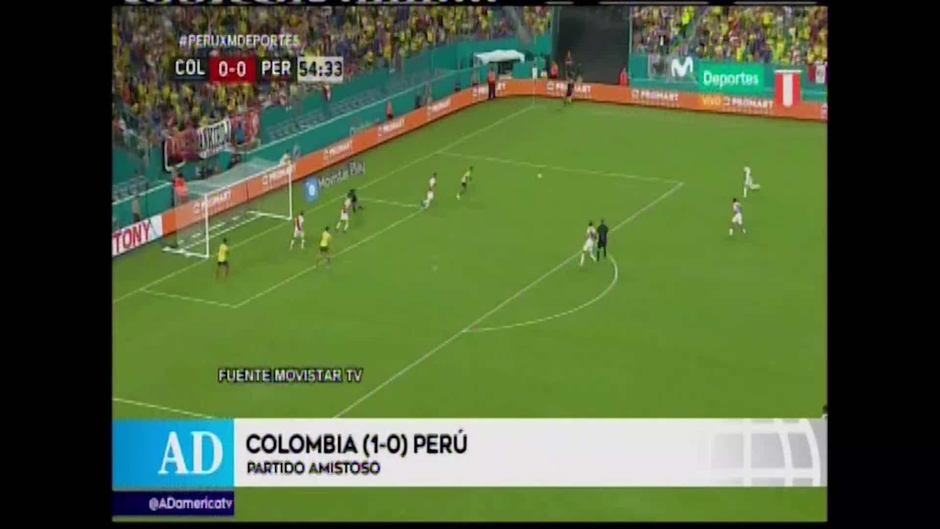 Selección peruana perdió sobre el final ante Colombia