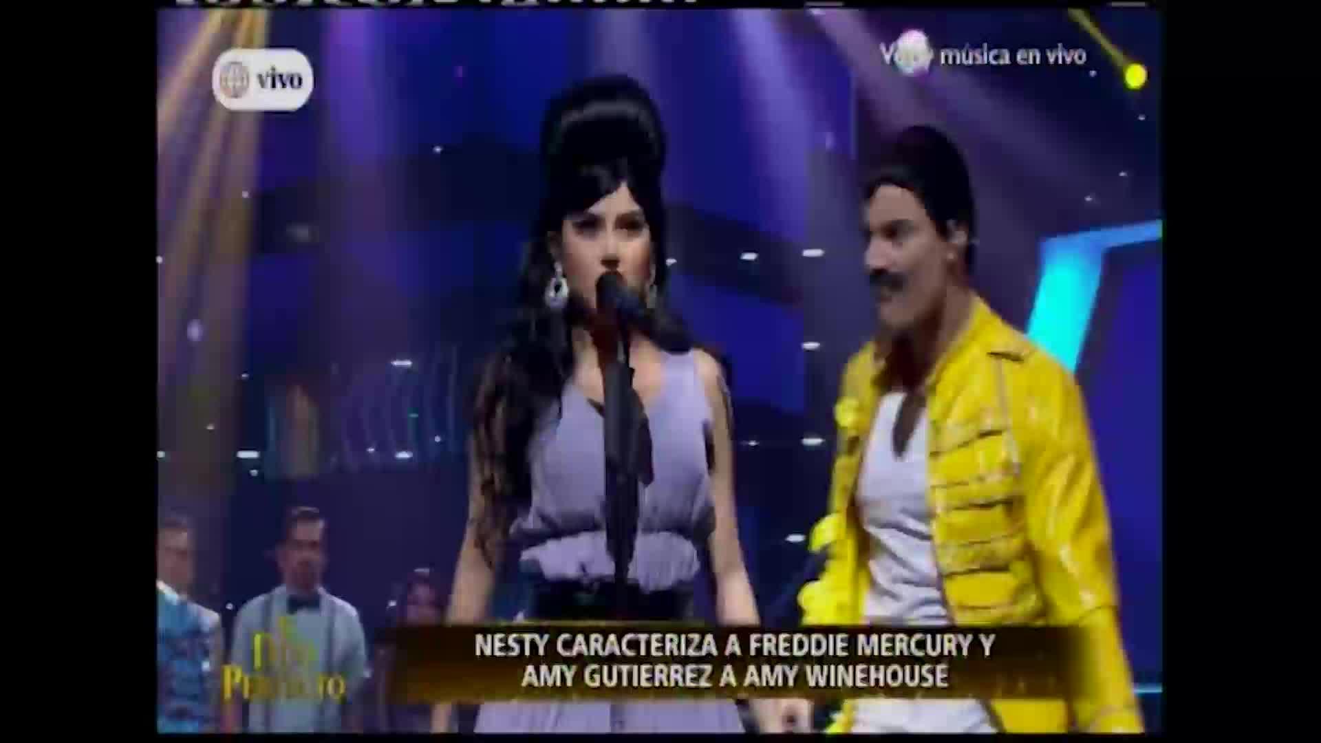 """""""El dúo perfecto"""": Amy G y Nesty se transforman en Amy Winehouse y Freddy Mercury en infartante versus"""