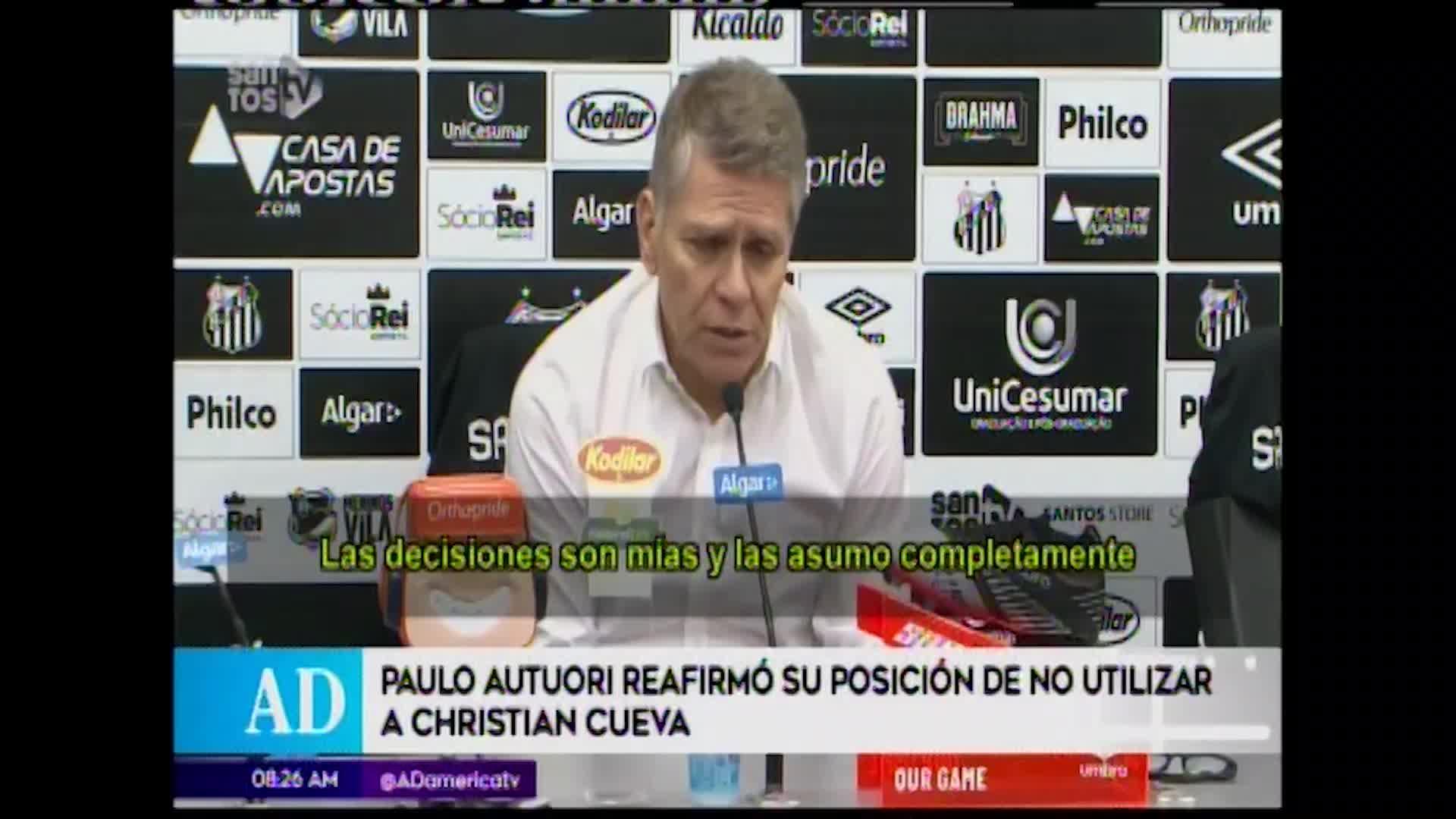 Paulo Autori reafirma que Christian Cueva no jugará más en lo que resta del año