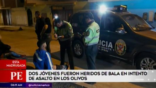 Delincuentes disparan contra jóvenes que se resistieron a asalto en Los Olivos