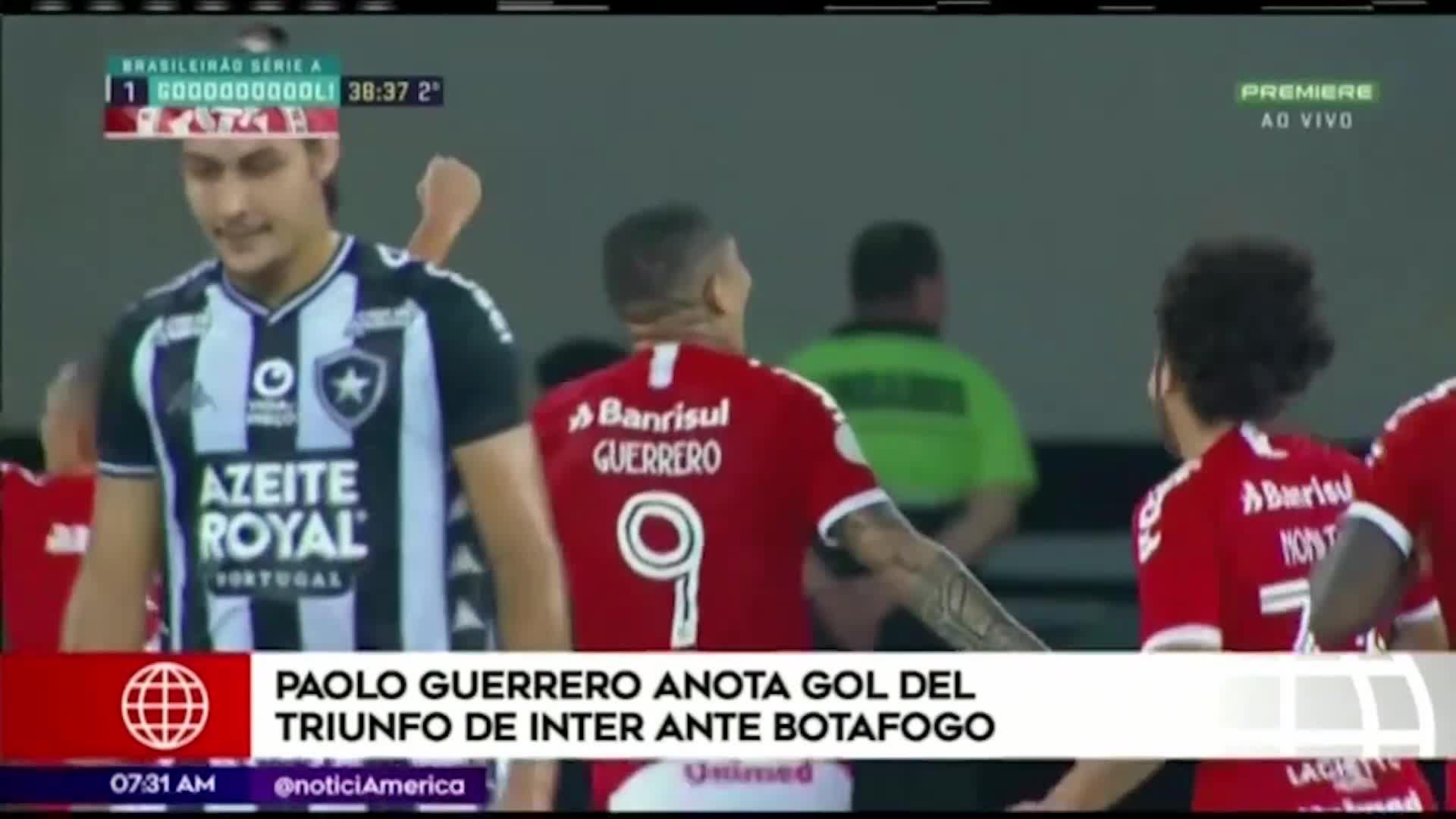 Paolo Guerrero anotó de zurda en la victoria del Internacional contra Botafogo