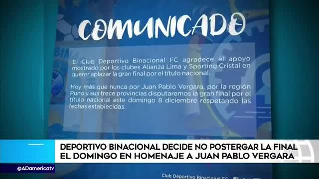 Binacional confirmó que jugará la final de la Liga 1 en la fecha establecida