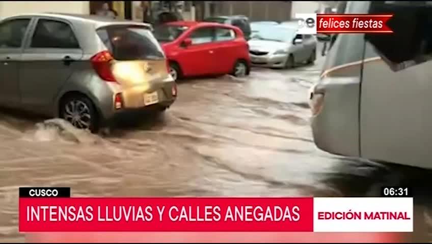Cusco: calles inundadas tras intensas lluvias