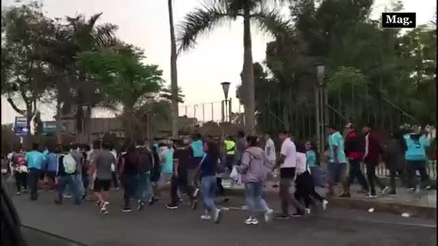 Sporting Cristal vs. Alianza Lima: Hinchas celestes caminan hacía el Estadio Nacional