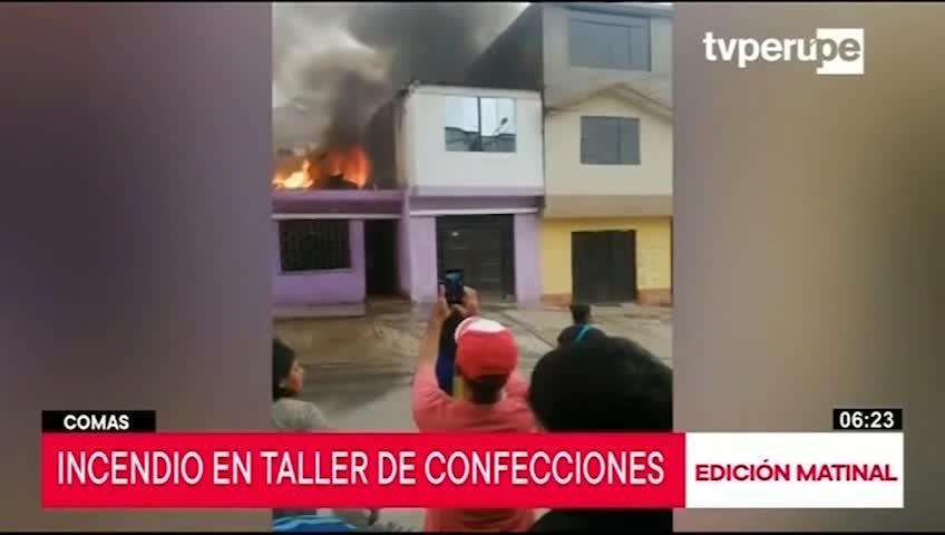 Comas: incendio en taller de confecciones