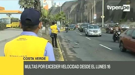 Municipalidad de Lima multará el exceso de velocidad en Costa Verde