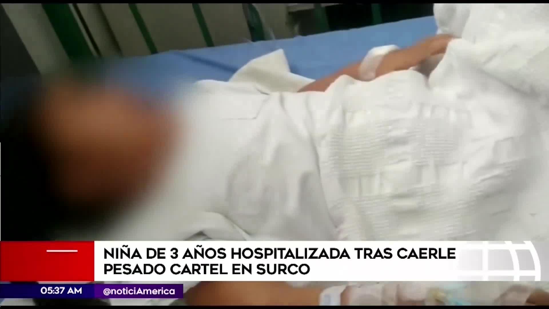 Surco: Menor de 3 años es hospitalizada tras caerle una pesada estructura