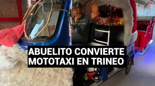 Abuelito gasta sus ahorros y convierte mototaxi en trineo para alegrar a niños por Navidad