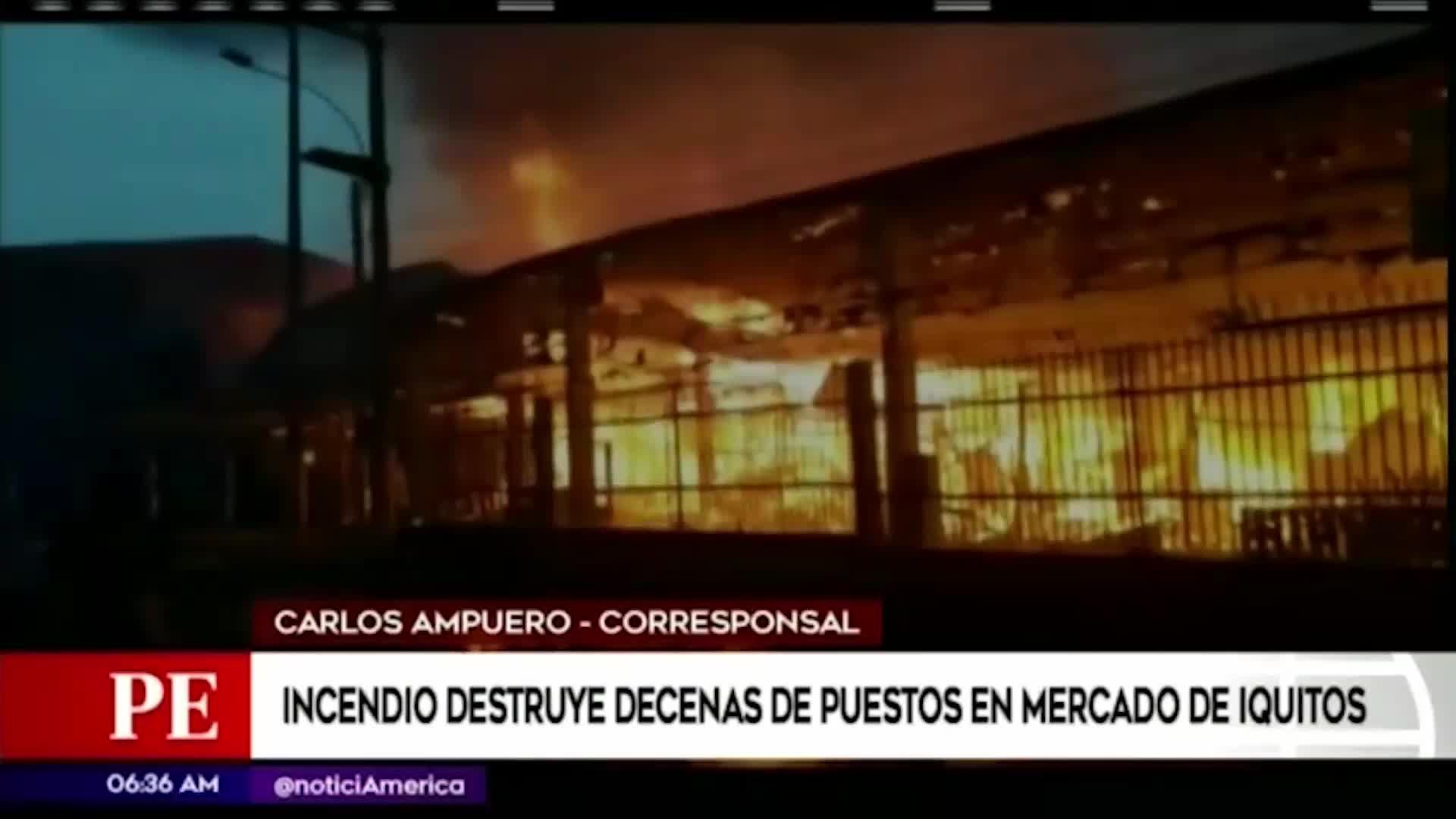 Iquitos: Incendio consume decenas de puestos en centro ferial Sachachorro