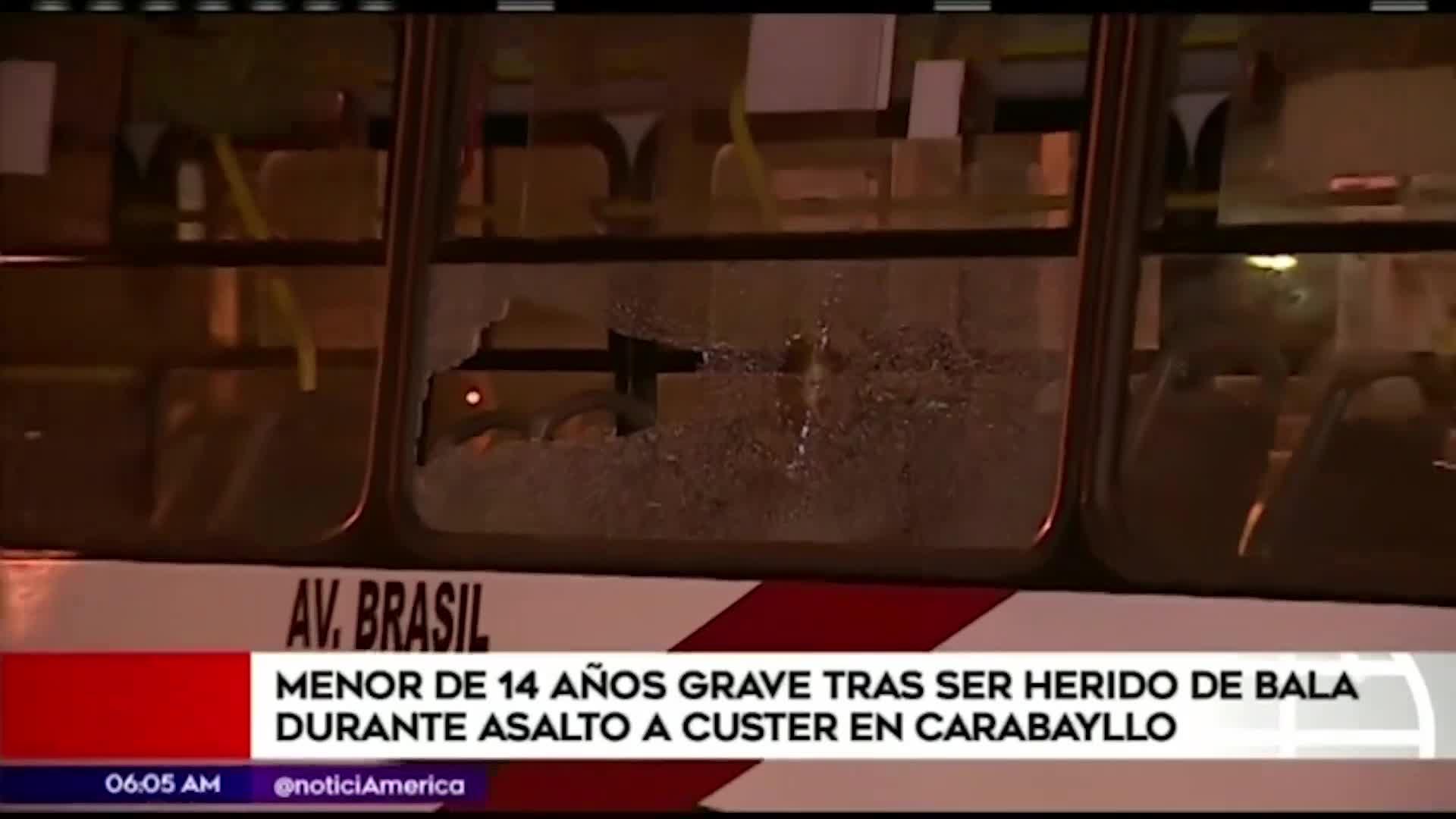Carabayllo: Escolar queda grave tras ser herido de bala durante asalto a bus