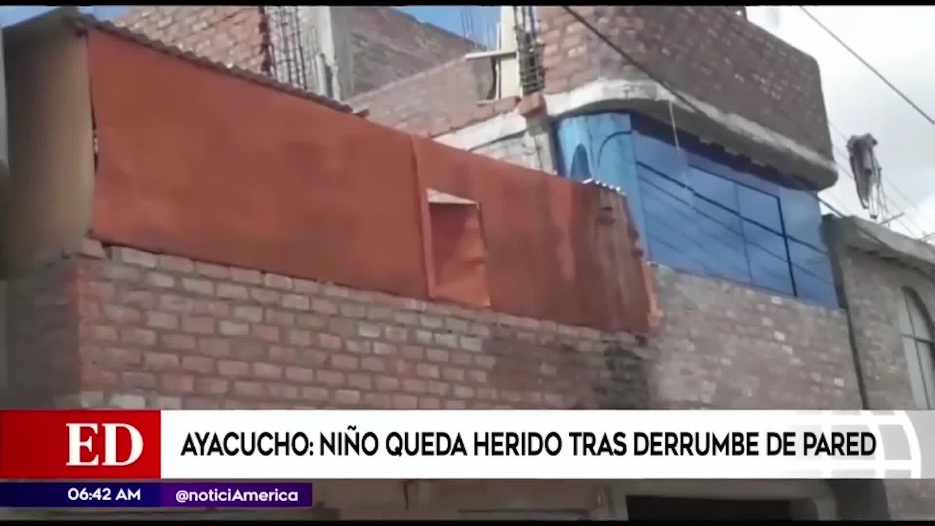 Ayacucho: niño herido tras derrumbe de pared
