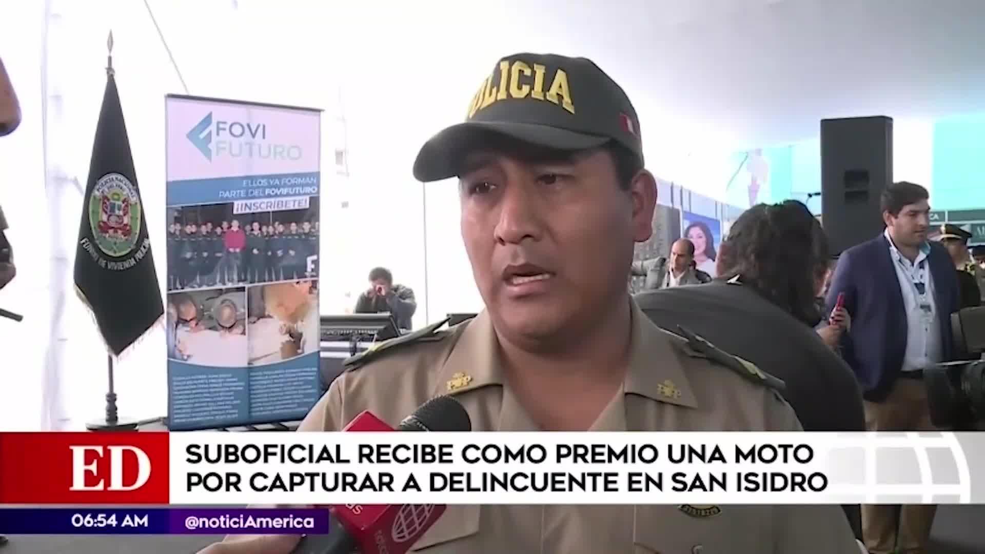 San Isidro: suboficial fue premiado con una moto lineal por capturar a delincuente