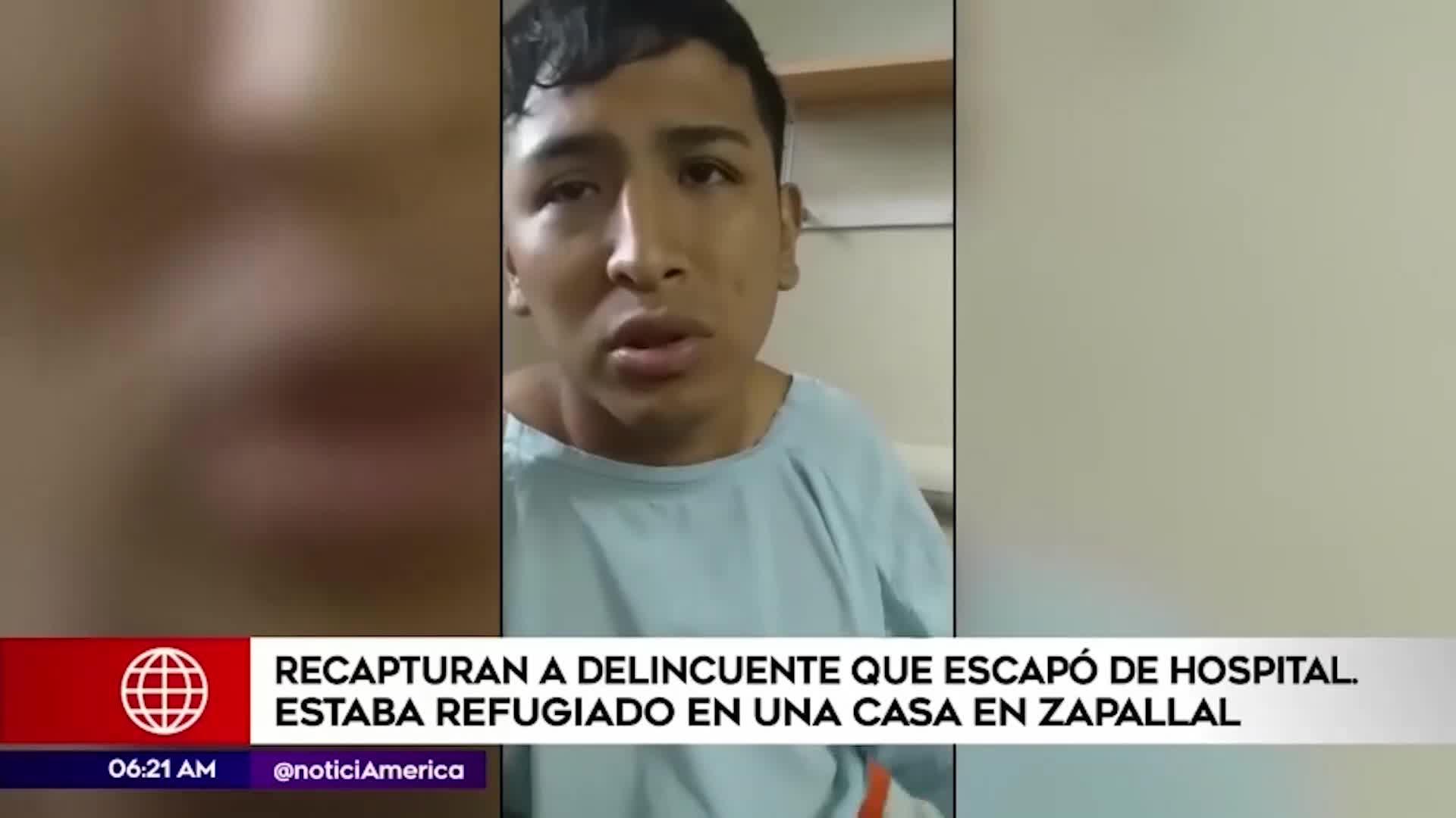 Zapallal: recapturan a delincuente que escapó de hospital San José